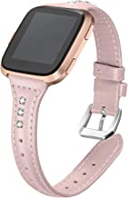 """bayite Bands Compatible Fitbit Versa, Slim Genuine Leather Band Replacement Accessories Strap Versa Women Men (5.3""""-7.8"""")"""