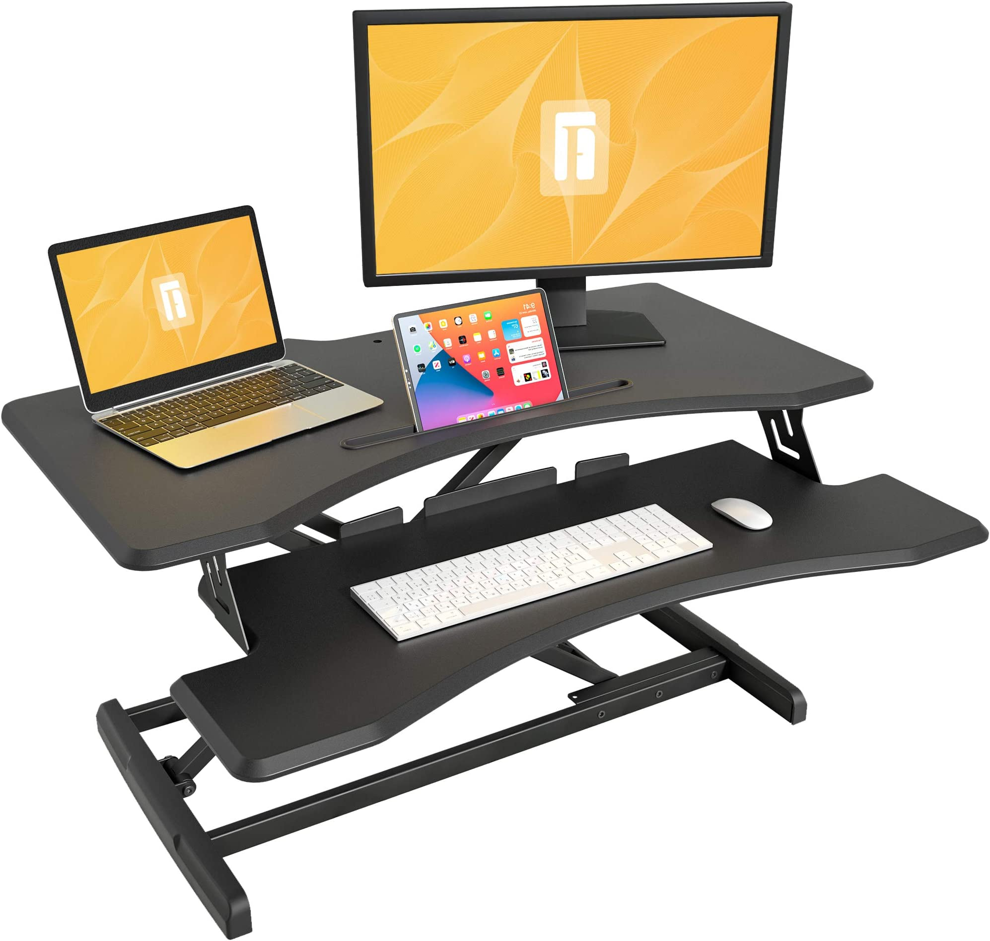 Standing Desk with Height Adjustable – FEZIBO 37 inches Standing Desk Converter Black Stand Up Riser Tabletop Workstation fits Dual Monitor