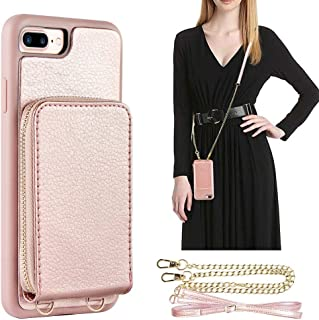 iPhone 8 Plus Wallet Case, JLFCH iPhone 7 Plus Wallet Zipper Case with Credit Card Slot Card Holder Crossbody Strap Purse Leather Handbag Case for iPhone 7/8 Plus 5.5 inch - Rose Gold