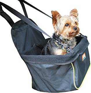 Animal Planet Puppy Booster Car Seat Cover for Small Dogs - Portable, Foldable, Collapsable Pet Car Carrier with Safety Leash - 12Lbs & Under