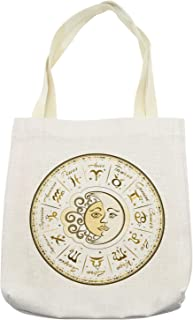 Ambesonne Zodiac Tote Bag, Circular Zodiac Chart Apparent Position of Sun and Moon in Centre Pattern Print, Cloth Linen Reusable Bag for Shopping Books Beach and More, 16.5