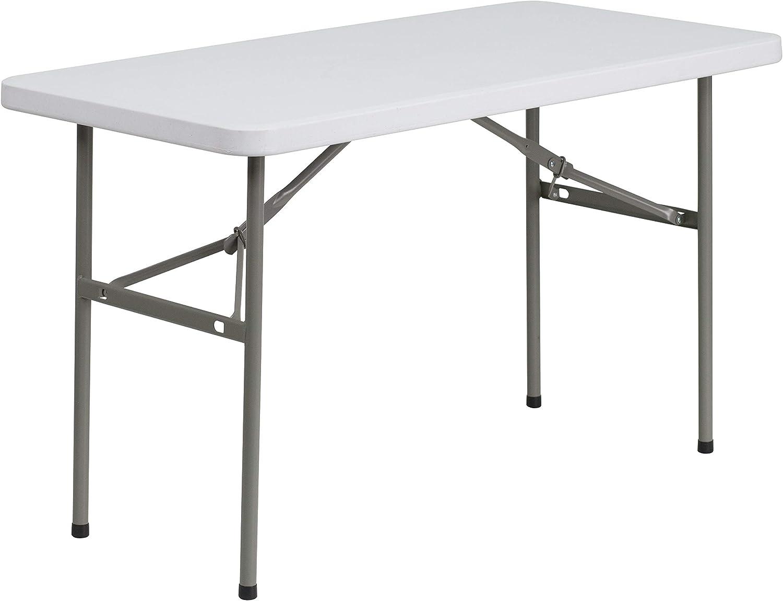 Flash Furniture 24''W by 48''L Granite White Plastic Folding Table
