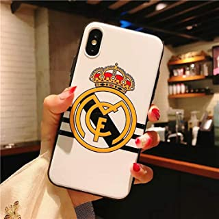 Logo Football Team Phone case for iPhone case x xr xs max case TPU Back Cover Manchester Chelsea fc Real Madrid fc Barcelona for iPhone 7 8 Plus All-Inclusive Men's Soft Shell (2, for iPhone XR)