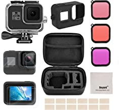 Deyard Accessories Kit for GoPro Hero 8 Black with Shockproof Small Case + Waterproof Case + Tempered Glass Screen Protector + Silicone Cover + Lens Filters + Anti-Fog Inserts Bundle for GoPro Hero 8