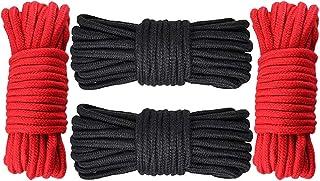GiantGo 4 rollen van 5 meter zacht katoenen touw - zacht gedraaid katoenen knooppunt bindtouw - multifunctioneel dik katoe...