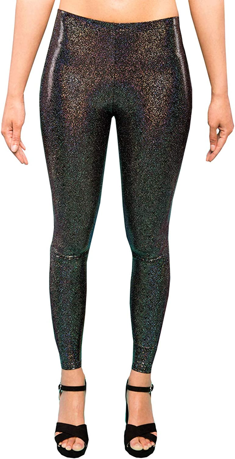 MADWAG Holographic Black Women's Leggings Ladies Glitter Party Tights Sparkly Festival Pants EDM Clothing XS S M L XL XXL
