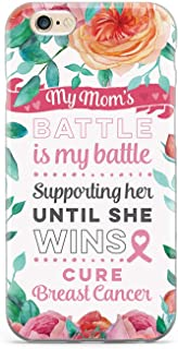 Inspired Cases - 3D Textured iPhone 6 Plus/6s Plus Case - Protective Phone Cover - Rubber Bumper Cover - Case for Apple iPhone 6 Plus/6s Plus - My Mom's Battle - Breast Cancer Awareness Case