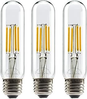 Leadleds 4W Tubular LED Bulb Edison Style COB LED Filament Bulb T10, Non Dimmable E26 Medium Base Lamp 40 Watt Incandescent Bulb Equivalent 2700K Neat Warm White, 3-Pack