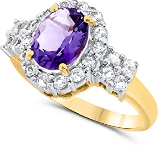 10k Yellow Gold Oval Amethyst and white Topaz Gemstone Halo Ring For Women