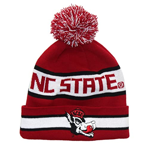 bc68092378a8f1 NC State Wolfpack Beanie - NCSU Hungry Wolf Retro Pom Beanie