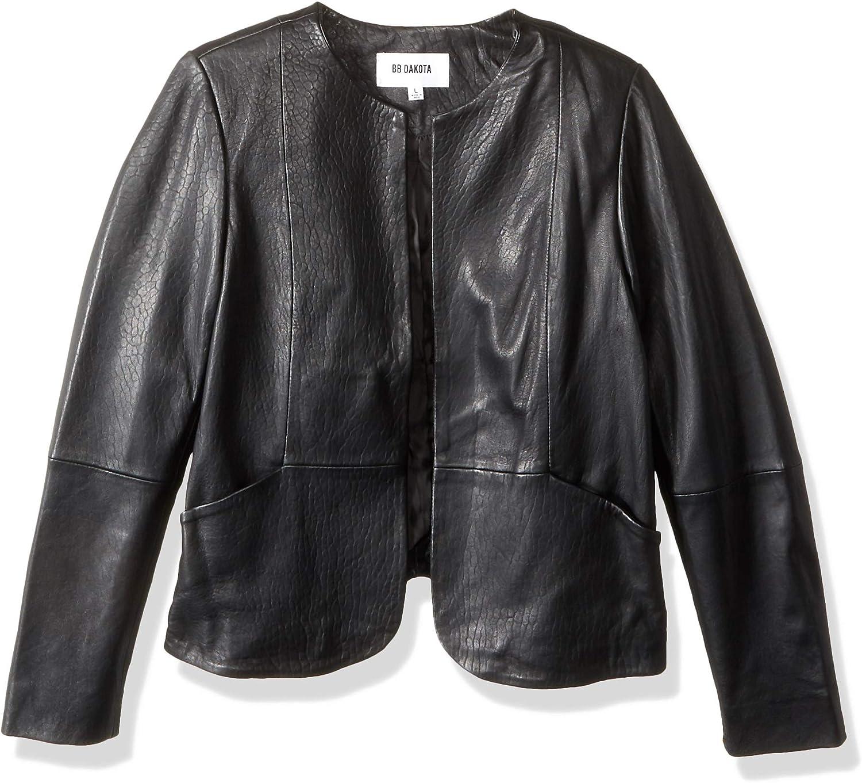 BB Dakota by Steve Madden Women's Grenier Textured Leather Jacket, Black, Medium