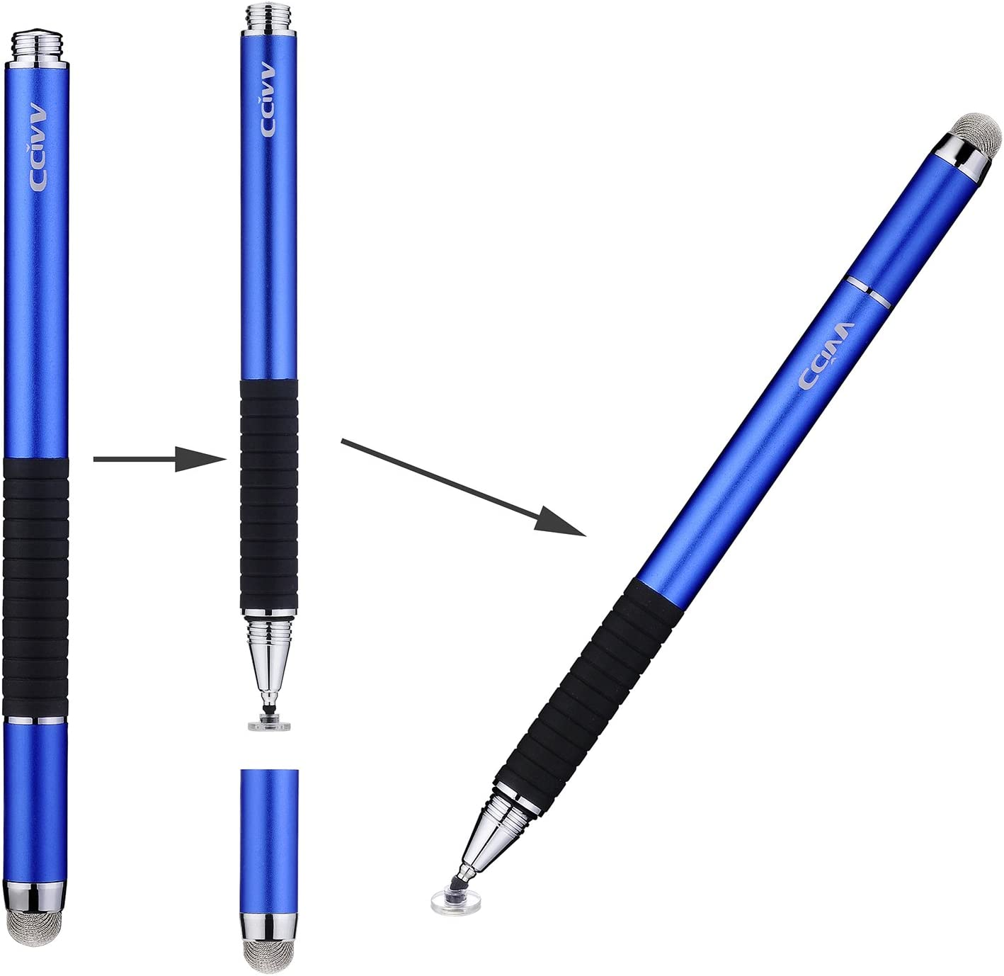 CCIVV Stylus Pen 2 in 1 Fine Point & Mesh Tip for Touch Screen, Compatible for Tablet and Cellphone (1Pc, Blue)