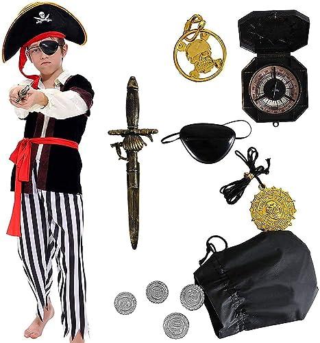 Tacobear Costume Pirate Enfants Déguisement Pirate Garçon Accessoires Pirate Cache-Oeil Dague Compass Bourse Boucle d...