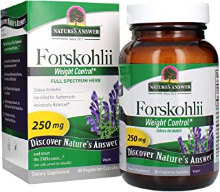 Nature's Answer Forskohlii Capsules 60 Count | Promotes Cardiovascular Health | Maintain Body Composition | Metabolism & W...