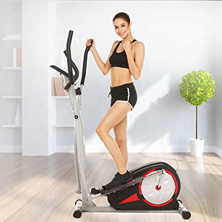 Fast 88 Portable Elliptical Machine Fitness Workout Cardio Training Machine, Magnetic Control Mute Elliptical Trainer with LCD Monitor, Elliptical Machine Trainer