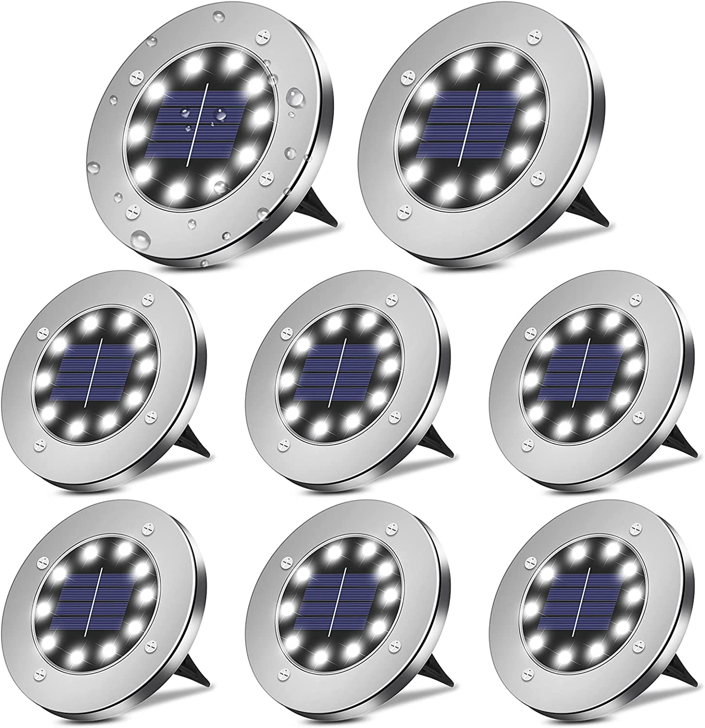 BROOM Solar Lights Outdoor Garden,(8 Packs)Solar Ground Lights , 10 LED Disk Lights Garden Waterproof Patio In-Ground Lights for Lawn, Pathway, Yard, Driveway, Step and Walkway (Cold White)