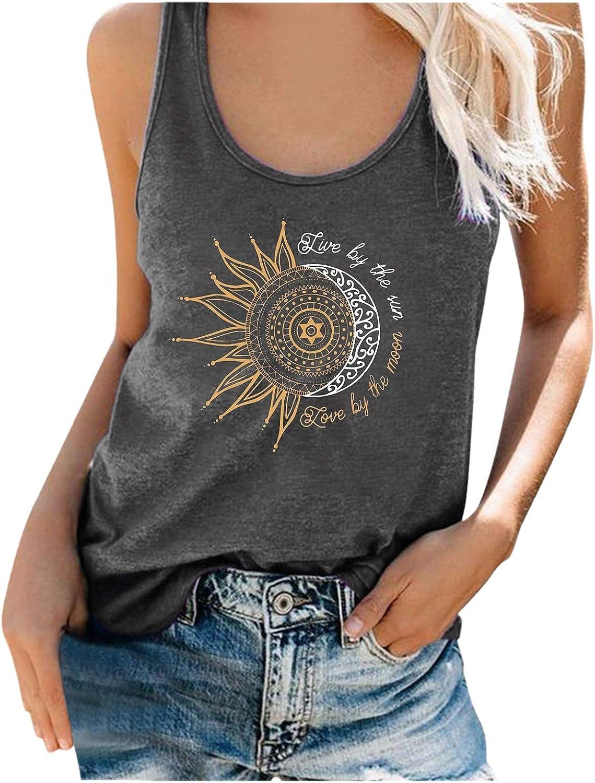 Women Tank Tops,Fashion Women's Casual Summer Moon and Sun Print O Neck Sleeveless Workout Blouse Casual T-Shirt Top Tank
