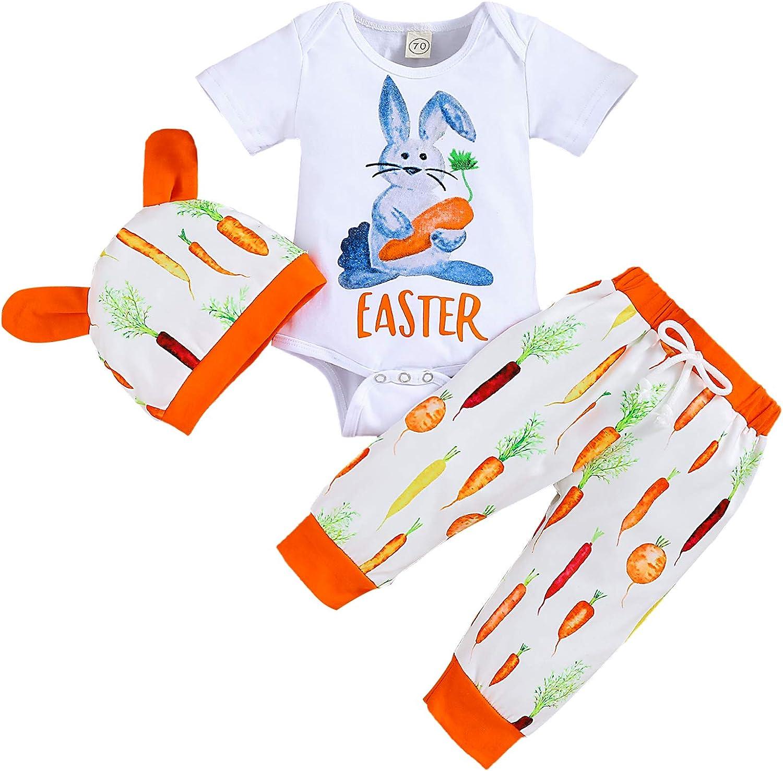 Infant Baby Girl Boy Easter Outfits Bunny Short Sleeve Romper+Rabbit Long Pants+Rabbit Ears Hat 3Pcs Clothes Set