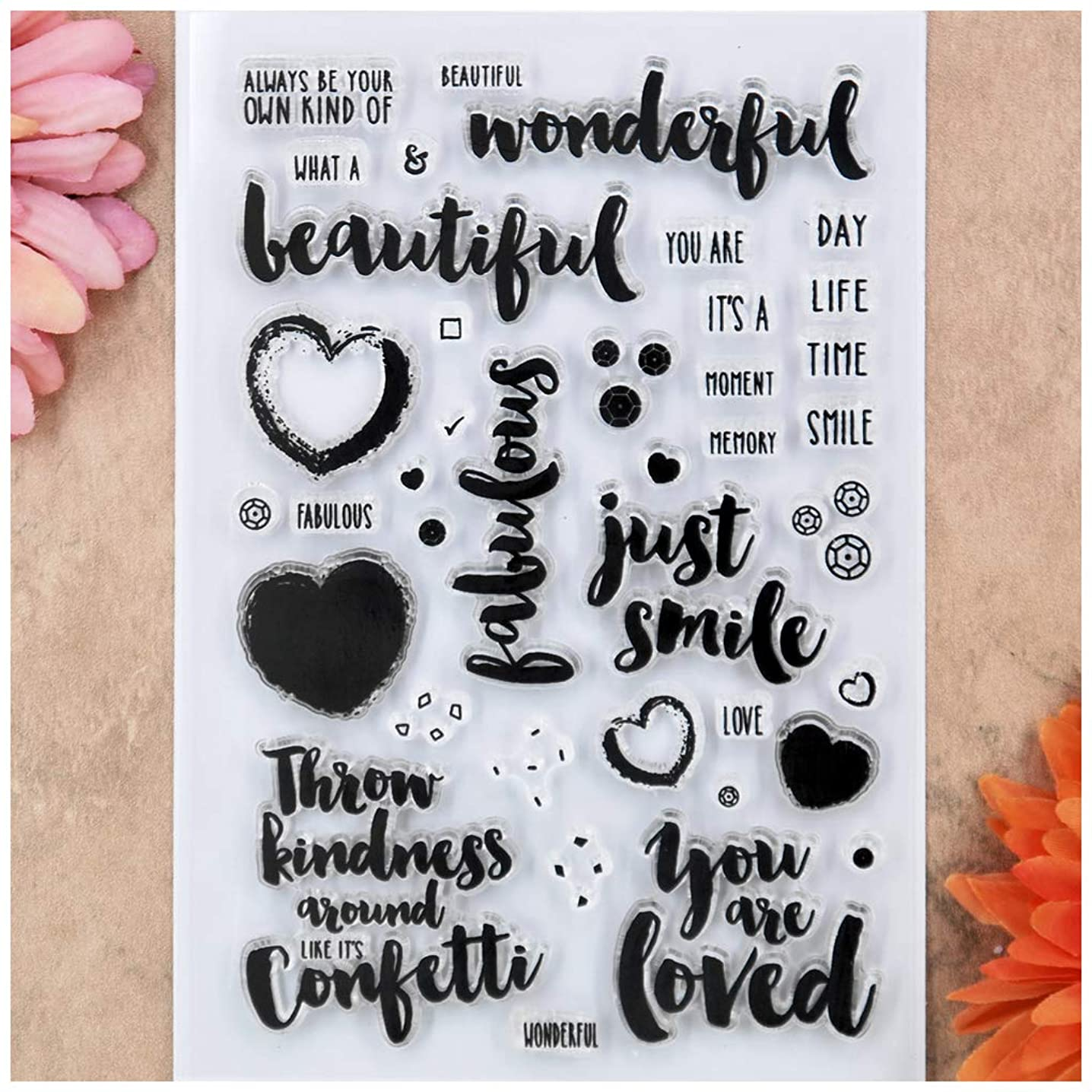 Kwan Crafts Word Wonderful Beautiful just smile Heart Love Clear Stamps for Card Making Decoration and DIY Scrapbooking