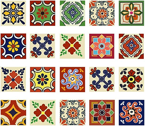 Tracfy Talavera Tile Stickers Mosaic Wall Stickers 20 PC Set 4x4 Waterproof Removeable BackSplash Wall Decals For Kitchen Bathroom Floor Wall Home Decor PVC Decals Paper