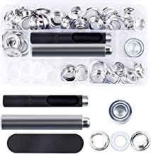 DianMan Grommet Kit 50 Sets 1/2 inch Brass Eyelets Washer Grommets with 3 Pieces Installation Tools for Repair Canvas Tarps Tents and Pool Coverings DIY Clothing Crafts Curtain (Silver)