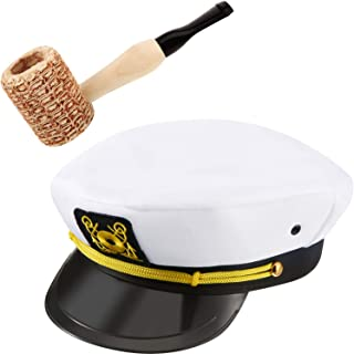 Yacht Sailor Costume Accessories Yacht Captain Hat and Sailor Hat with Corn Cob Pipe