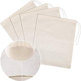 4 Stück Cheesecloth Taschen Käsetuch Nut Milk Sieb Baumwolle Muslin Taschen Mesh..