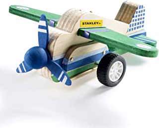 Stanley Jr DIY Pull Back Airplane Toy - Pull Back Airplane Building Kit for Kids - Pull and Go Airplane Crafts for Kids - Easy to Assemble Wood Airplane Toy - Parts, Paint & Decals Included