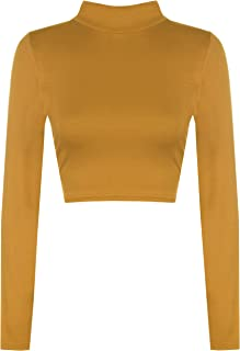 Womens Turtle Neck Crop Long Sleeve Plain Top - Mustard - US 4-6 (UK 8-10)