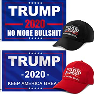 Trump Hat Flag Set 2 Pieces Keep America Great Hat 2 Pieces Donald Trump 2020 Flag with Grommets, 3 x 5 Feet for Supporting Trump Election(Style A)