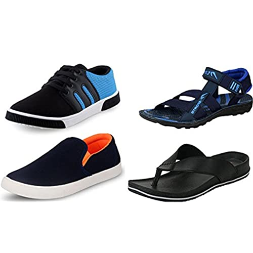 Maddy Men's Multicolour Synthetic Shoes and Slippers - 8 (Pack of 4)