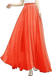 f634f4f9a75 v28 Women Full Ankle Length Elastic Pleated Retro Maxi Chiffon Long Skirt