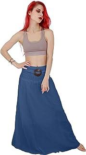 Billy's Thai Shop تنورة طويلة قطنية طويلة للنساء تنانير Boho Gypsy تنانير طويلة يدوية الصنع للنساء