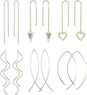 Milacolato 6Pairs En Acier Inoxydable Threader Boucles Doreilles pour les Femmes Turquoise Coeur Drop Dangle Cha/îne Gland Threader Boucles Doreilles