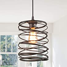 LNC Pendant Lighting for Kitchen Island,Rustic Farmhouse Rust Cage Hanging Lamp,Brown, A03291