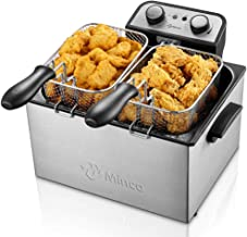 Deep Fryer with Basket, M Minca 1800W Electric Deep Fryer with Timer, Stainless-Steel Triple Basket, 4 Liter Oil Capacity