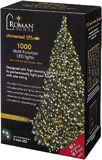 Roman Lights Superbright LED USB 1000L Warm White 84 ft, Green Cord Light Set, 10 Function Controller, 8 on/16 Off Timer