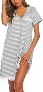 Women's Nightgown Striped Tee Short Sleeve Sleep...