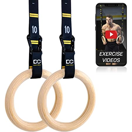Gonex Wooden Gymnastic Rings with Adjustable Number Straps Hanging Swing Hardware Heavy Duty Swing Hanger Set