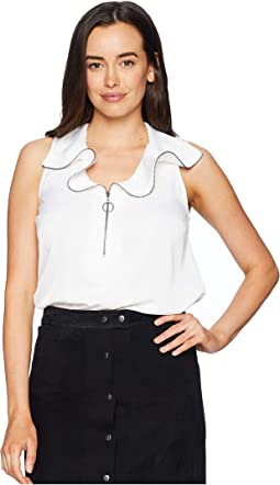 Zipped Front Flouncy Sleeve Top