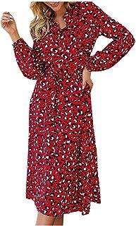فستان الفهد النساء الشيفون طويل شاطئ فستان فضفاض فساتين طويلة الأكمام الخامس الرقبة خط خط مثير حزب اللباس
