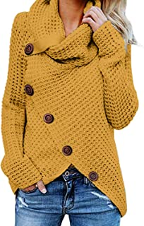 HUUSA Women's Chunky Turtle Cowl Neck Asymmetric Hem Wrap Sweater Coat with Button Details