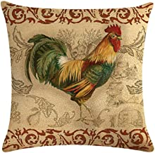 Easternproject Rooster Painting Farmhouse Decorative Throw Pillowcase Country Burlap Pillow Cover Cushion Case 18''x18'' (05)