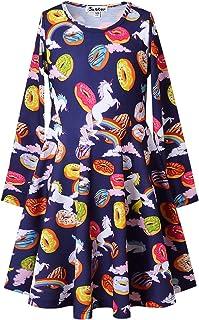 فساتين Jxstar للفتيات بأكمام طويلة ملابس أطفال يونيكورن ملابس قطنية 3-13 عامًا