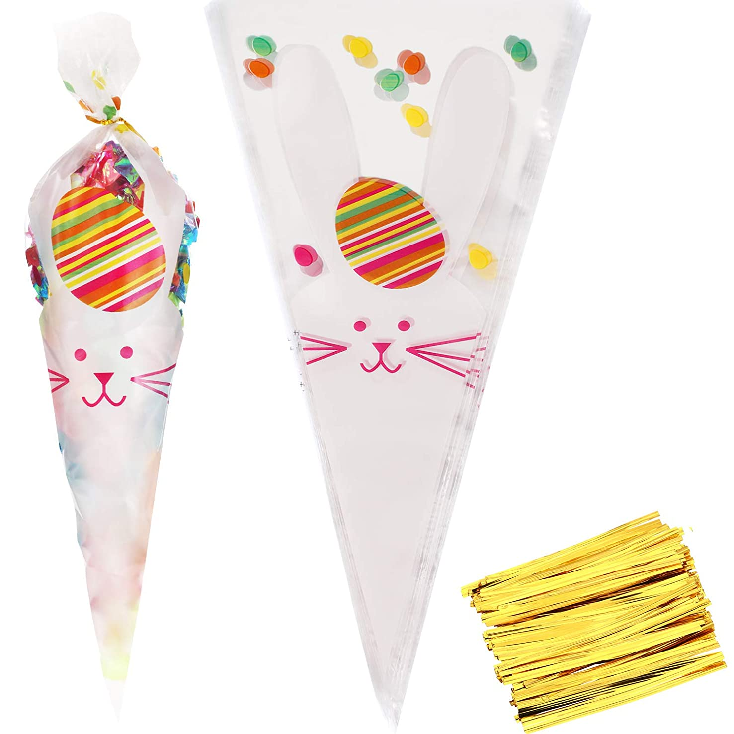 Yaomiao 100 Pieces Easter Cellophane Bags Bunny Pattern Plastic Treat Bags Carrot Goody Bags with Gold Twist Ties for Easter Party Supplies (Style 1)
