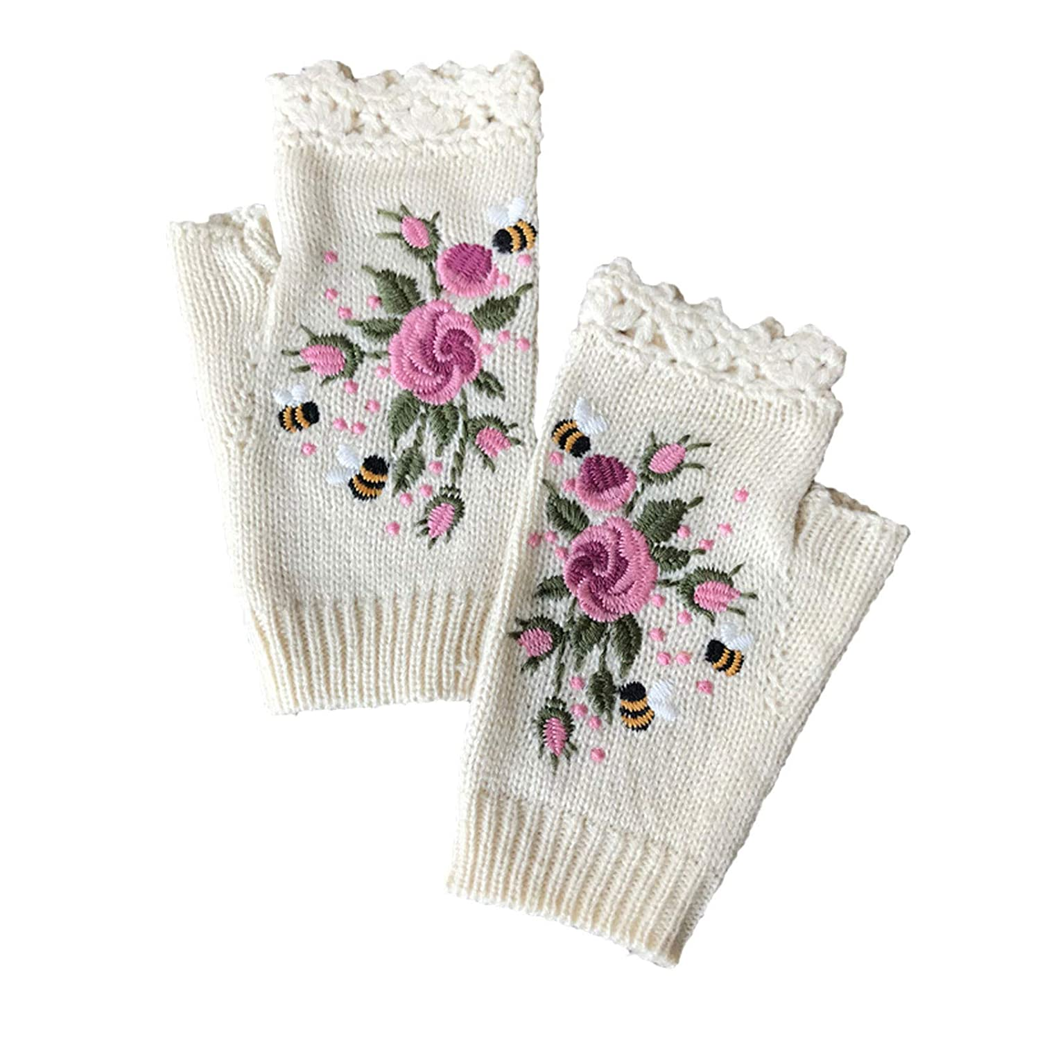 【USA In Stock】Hand Knit Alpaca Fingerless Embroidered Rose Flower Gloves Fleece Lined Winter Texting Driving Warm
