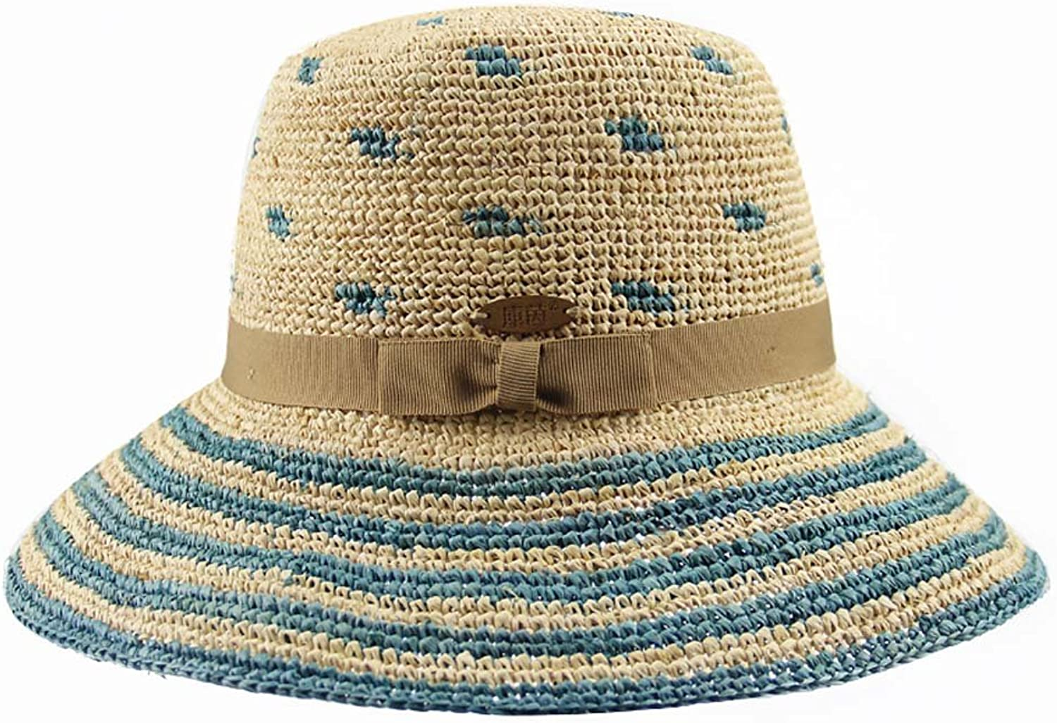 ZHANGRONG Spring and Summer Straw Hat Hand Handshake Puzzles Ladies Hoods Foldable Beach Hat (color Optional) (color   3)