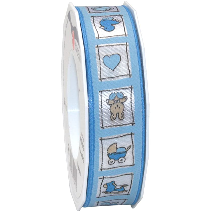 Morex Ribbon Natale Printed Ribbon, 1-Inch by 22-Yard, Light Blue