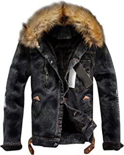 Omoone Men's Faux Fur Collar Sherpa Fleece Lined Distressed Denim Trucker Jacket