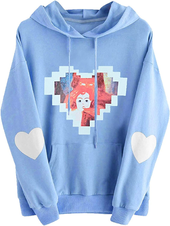 Hoodies for Women Teen Girls Long Sleeve Casual Sweatshirts Cute Graphic Printed Hooded Color Block Pullover Tops